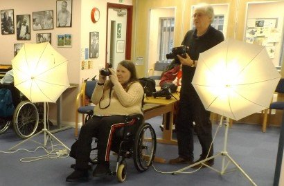 a photography lesson at Disability Initiative